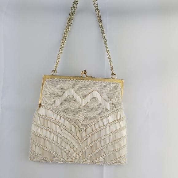 Handbags - Vintage hand beaded clutche purse evening bag